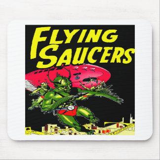 Alien Flying Saucers Vintage Comic Book Art Mousepads