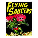 Alien Flying Saucers Vintage Comic Book Art Postcard