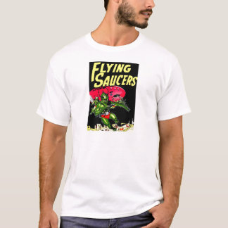 Alien Flying Saucers Vintage Comic Book Art T-Shirt