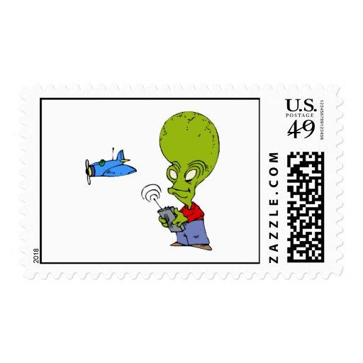 Alien flying toy plane stamp
