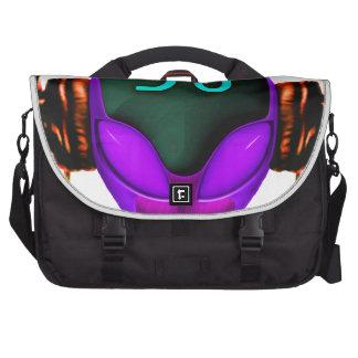 Alien Futuristic DJ with Headphones. Violet eyes Laptop Messenger Bag