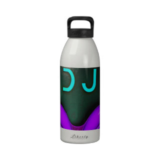 Alien Futuristic DJ with Headphones. Violet eyes Reusable Water Bottles