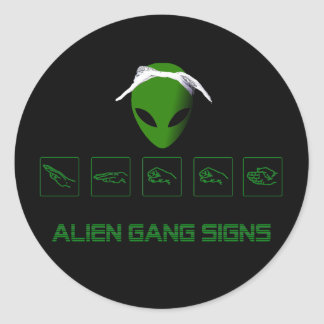 Alien Gang Signs Round Stickers