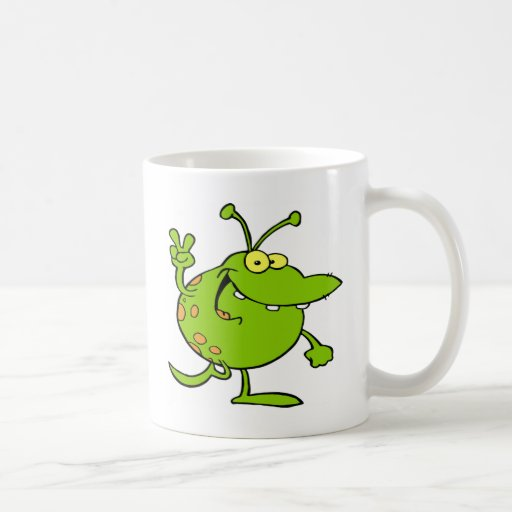 Alien Gesturing A Peace Sign Coffee Mug