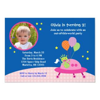 Alien Girl Photo Birthday Party Invitation