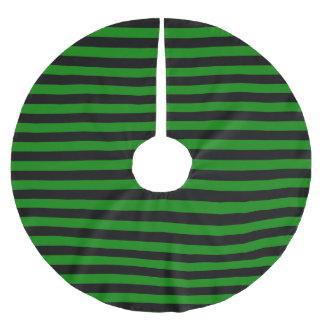 Alien Green and Black Horizontal Witch Stripes Brushed Polyester Tree Skirt