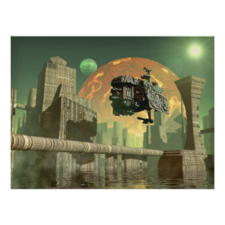 Alien green world poster