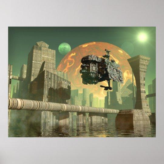 Alien green world poster