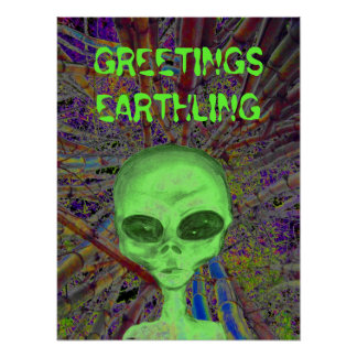 Alien Greeting Poster