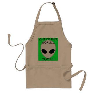 alien grey adult apron