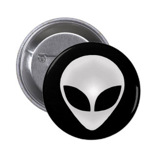 Alien Grey Head Pinback Button