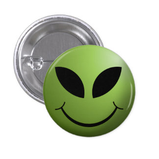 Alien Happy Smiley Face 1 Inch Round Button
