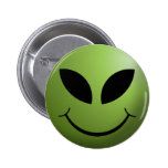 Alien Happy Smiley Face Button