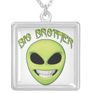 Alien Head Big Brother Square Pendant Necklace