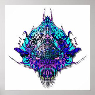 Alien Head Evil Species # 44 - blue and purple Poster