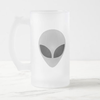 Alien Head Frosted Glass Beer Mug