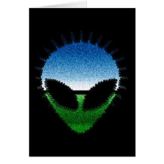 Alien Head - Glitter Face Reptilian or Grayling Card