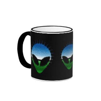 Alien Head - Glitter Face Reptilian or Grayling Ringer Coffee Mug