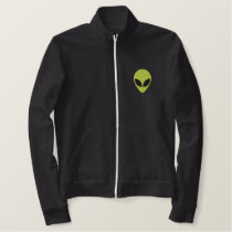 Alien Head Green with Black Eyes Pattern Embroidered Jacket