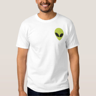 Alien Head Green with Black Eyes Pattern Embroidered T-Shirt