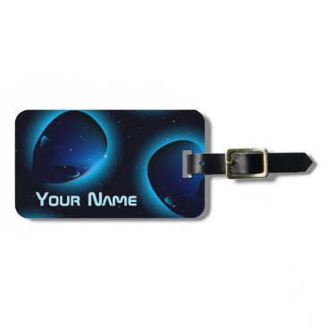 Halloween Themed Alien head in space luggage tag