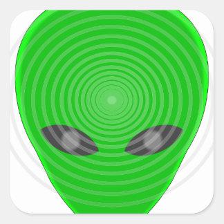 Alien Head Mind Control Square Sticker