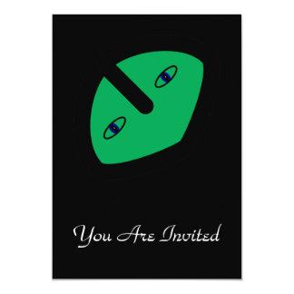 Alien Head on Green 5x7 Paper Invitation Card