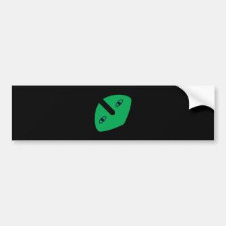 Alien Head on Green Car Bumper Sticker