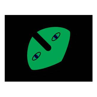 Alien Head on Green Postcard