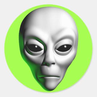 Alien Head Classic Round Sticker