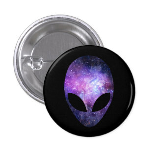 Alien Head With Conceptual Universe Purple 1 Inch Round Button