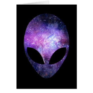Alien Head With Conceptual Universe Purple Stationery Note Card