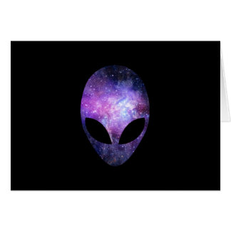 Alien Head With Conceptual Universe Purple Greeting Card