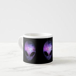 Alien Head With Conceptual Universe Purple Espresso Cup