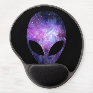 Alien Head With Conceptual Universe Purple Gel Mouse Pad