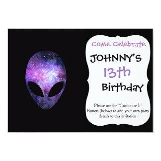 Alien Head With Conceptual Universe Purple 5x7 Paper Invitation Card
