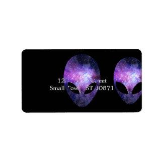 Alien Head With Conceptual Universe Purple Address Label
