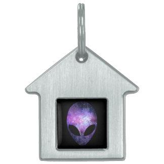 Alien Head With Conceptual Universe Purple Pet Name Tag
