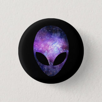 Alien Head With Conceptual Universe Purple Pinback Button