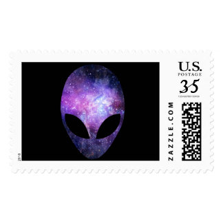 Alien Head With Conceptual Universe Purple Postage