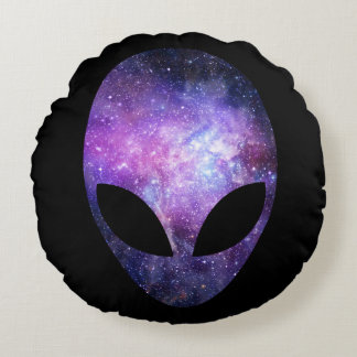 Alien Head With Conceptual Universe Purple Round Pillow