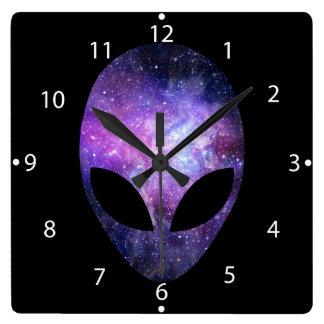 Alien Head With Conceptual Universe Purple Square Wall Clock