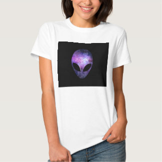 Alien Head With Conceptual Universe Purple Tee Shirt