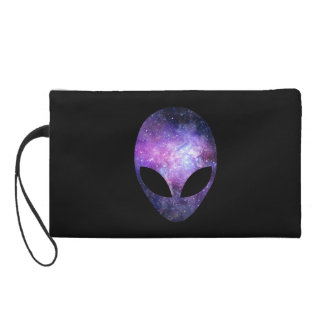 Alien Head With Conceptual Universe Purple Wristlet