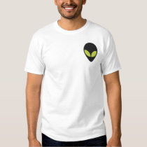 Alien Head with Green Eyes Pattern Embroidered T-Shirt