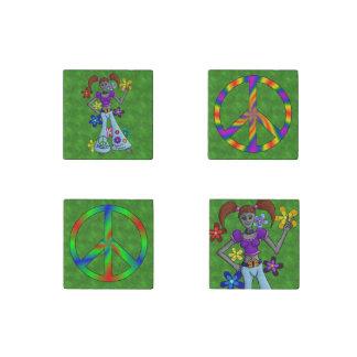Alien Hippy 4-pack Stone Magnet
