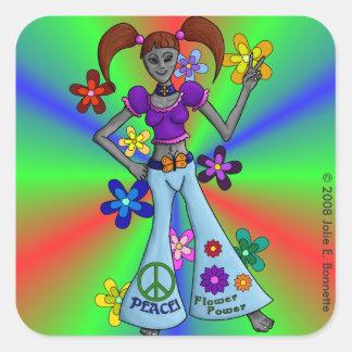 Alien Hippy Square Square Sticker