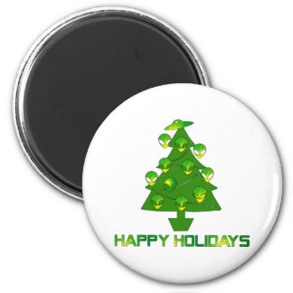 Alien Holiday Tree 2 Inch Round Magnet