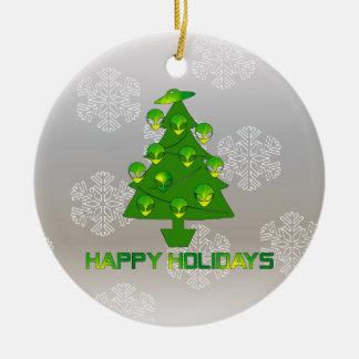 Alien Holiday Tree Ceramic Ornament