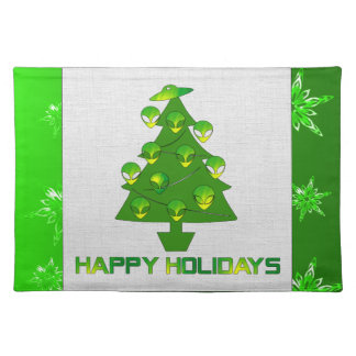 Alien Holiday Tree Cloth Placemat